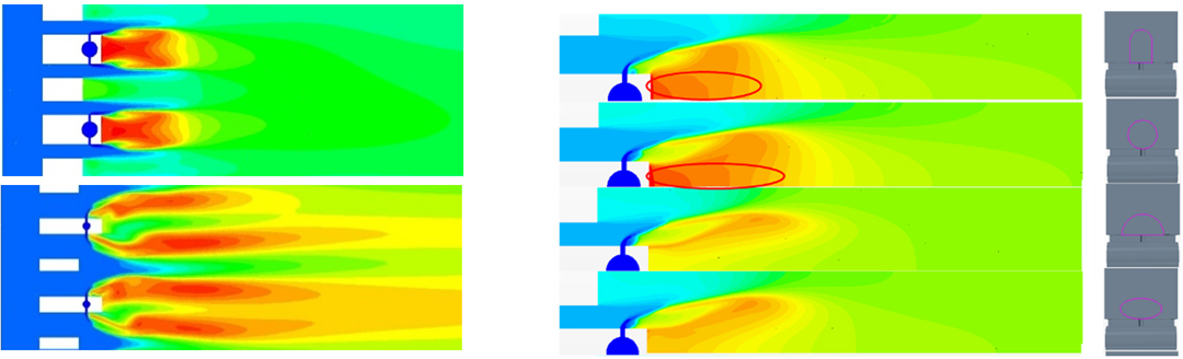 Figure 4 Temperature with low (top) and high (bottom) jet penetration and Figure 5 Temperature with various air gate shape