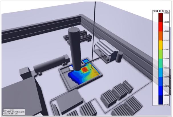 FLACS model still of a LH2 Tank Leak showing LH2 Pool depth